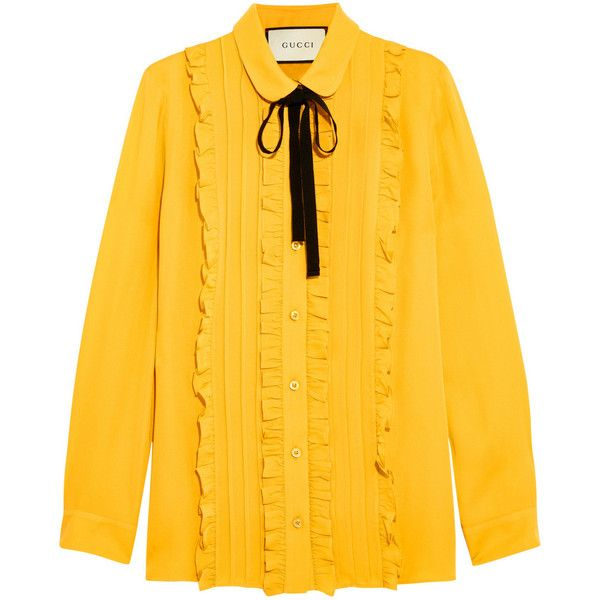 Gucci Ruffled silk shirt ($960) ❤ liked on Polyvore featuring tops, blouses, shirts, gucci, mustard shirt, pintuck blouse, shirt blouse, silk blouse and silk ruffle blouse