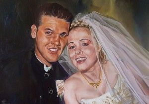 Jeff And Fi  90cm x 60cm. Oil on primed board, framed. Jeffrey and Fiona Carrero on their wedding day. Phillip Carrero