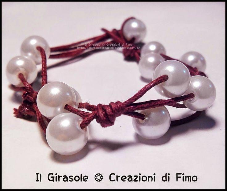 Il Girasole ❂: Bracciale in filo di cotone e perle