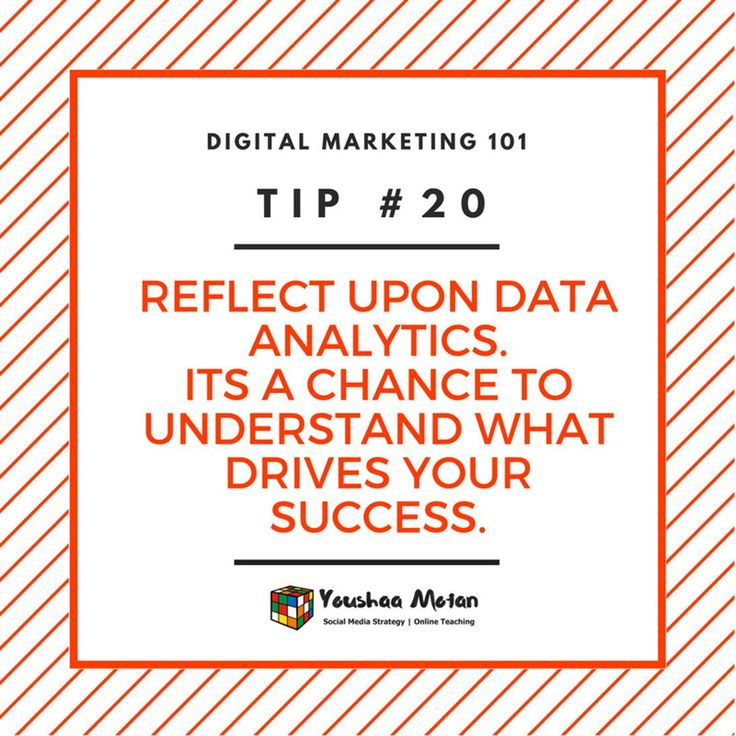 Digital Marketing 101 - Tip #20  Always reflect upon your data. Analytics are a key reflection as to what is working for you and what isn't.  If you're not a data-centric person start small by reading articles or taking a micr-class to start your comprehension. Your future self will thank you.  #data #dataanalysis #analytics #digitalmarketing #digitalbranding #marketingstrategy #digitalagency #marketingagency #branddevelopment #smallbusiness #startup #entrepreneur #goals #inspiration…