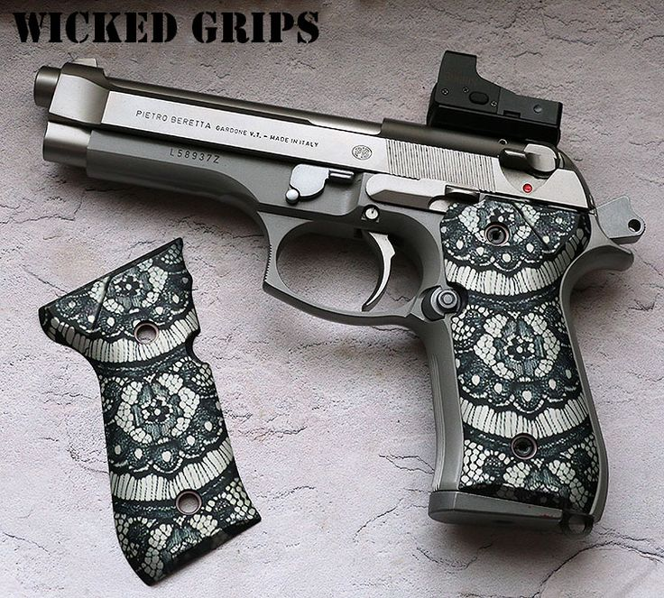 "CUSTOM BERETTA 92FS GRIPS ""BLACK LACE"" Find our speedloader now! http://www.amazon.com/shops/raeind"