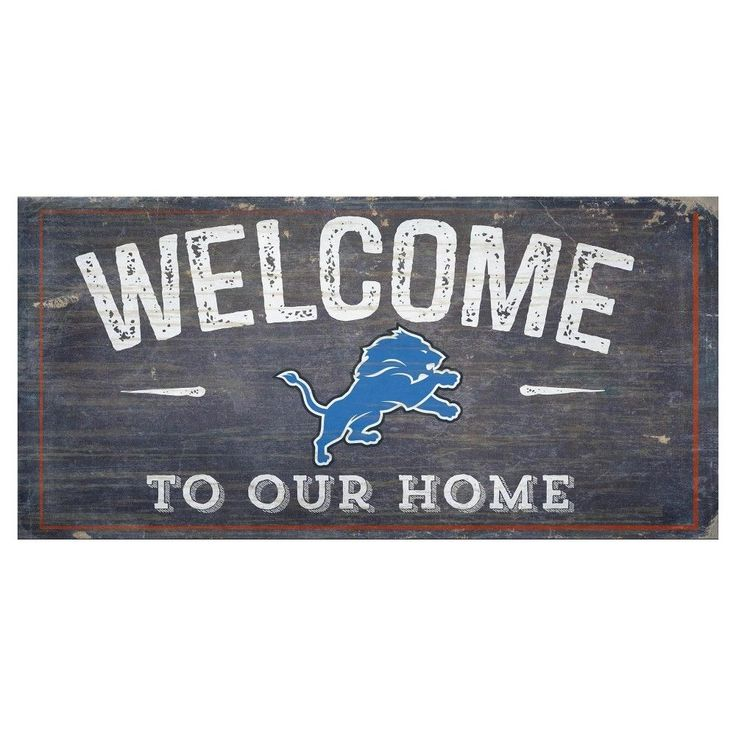 """NFL Detroit Lions 6"""" x 12"""" Welcome Distressed Sign"""