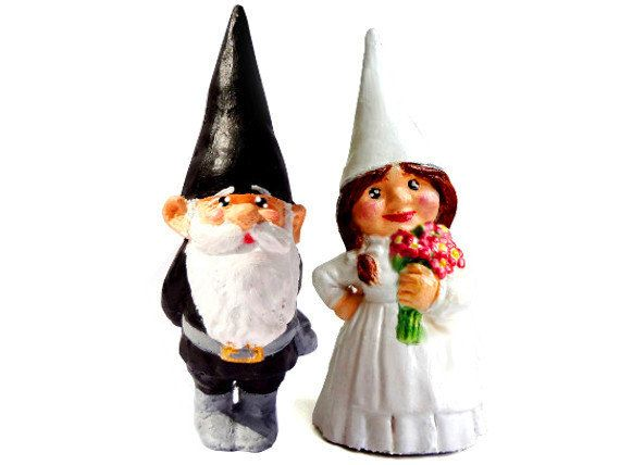 Plastic Toy Set Of Two Gnome Cake Toppers Flowers Hand On Hip Woodland Wedding