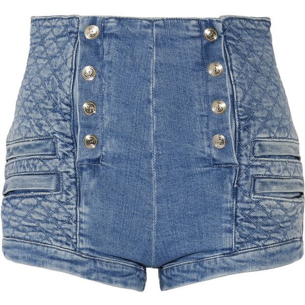 Pierre Balmain Button-detailed quilted stretch-denim shorts ($660) ❤ liked on Polyvore featuring shorts, zipper shorts, high waisted button shorts, high waisted shorts, stretch denim shorts and highwaisted shorts