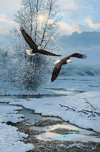 Winter Along the River-Bald Eagles by Persis Weirs