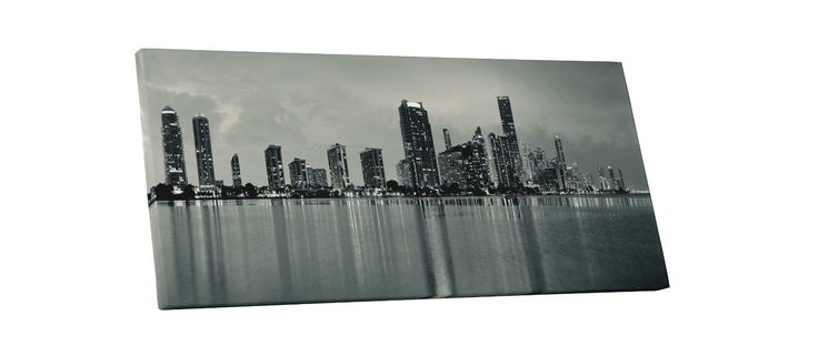 Miami Florida Black And White Skyline Panoramic Gallery Wrapped Canvas Print