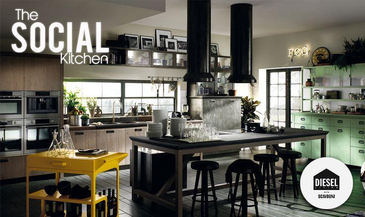 """""""Social Kitchen"""" by Scavolini & Diesel   Un espacio que se expande con inteligencia y ergonomicidad, que te sorprende tanto por su diseño como por el estudio y la calidad de sus materiales.   El sitio perfecto donde socializar y expresar tu estilo personal.  http://www.kitchencollections.com.sv"""