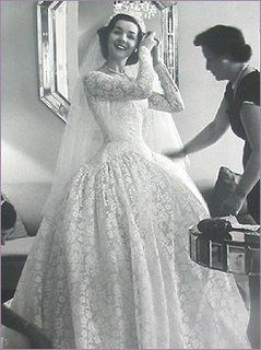 """Lovely dress from 1950s, when brides looked """"bridal"""".  Since when did sleeved become a bad thing for brides?"""