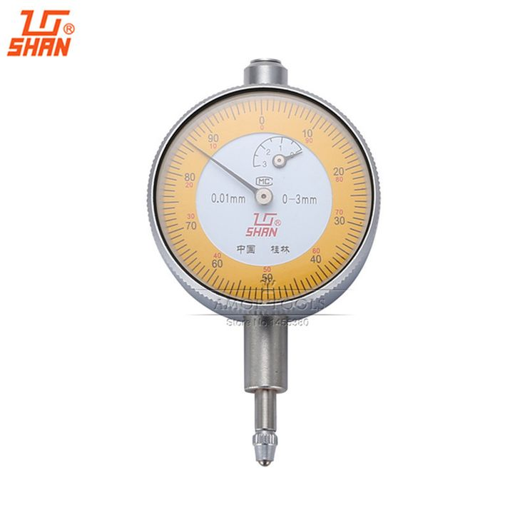 SHAN Dial Indicator 0-3mm/0.01mm Small Dial Test Gague Aluminum Body Micrometer Caliper Precision Tools