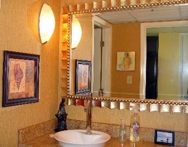 Image Gallery For Website Custom Decorated Bath with Granite Vanity u Vessel Sink u Luxury Bath Towels