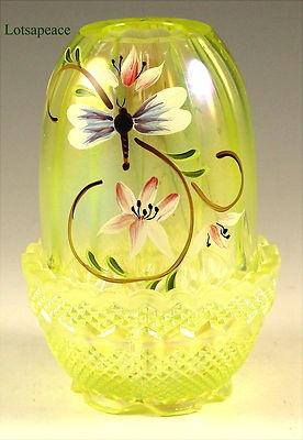 Fenton Lily Trail w/ Dragonfly on TOPAZ OPAL Vaseline Fairy Light Lamp 2001