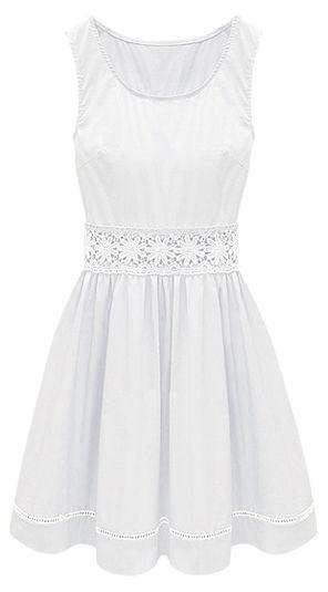 White Sleeveless Crochet Lace Embellished Waist Skater Dress - Sheinside.com
