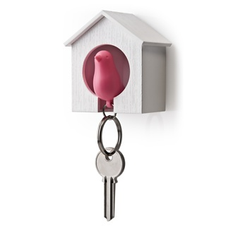 A keychain shaped like a bird that fits into a birdhouse on your wall! Such a clever and creative idea.