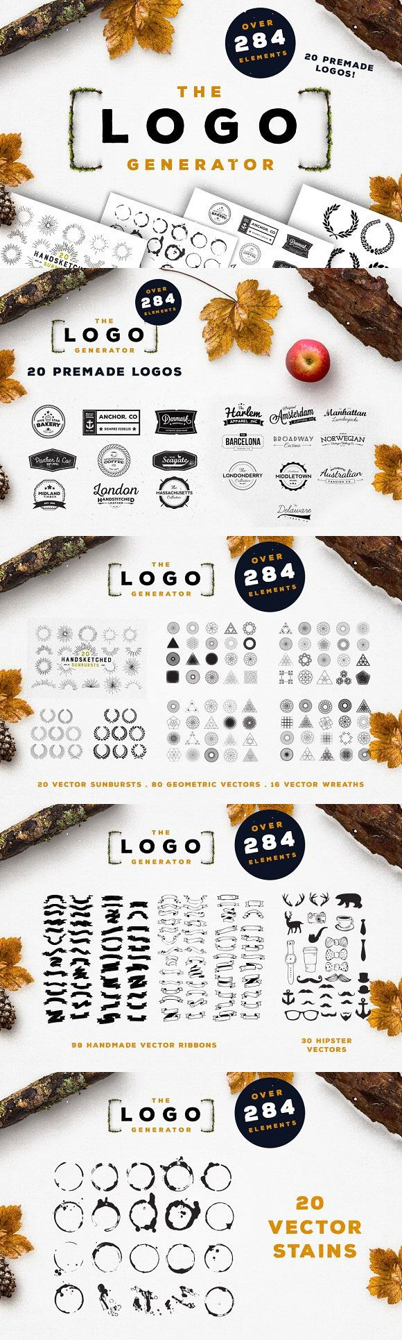Create your next #logo with our Logo Generator, incuding over 284+ Fully Scaleable Elements including 20 Premade #Vintage #Logos, #Geometric Shapes, Stains, Sunbursts, Wreaths/Laurels, Ribbons and #Hipster #Vector Elements.