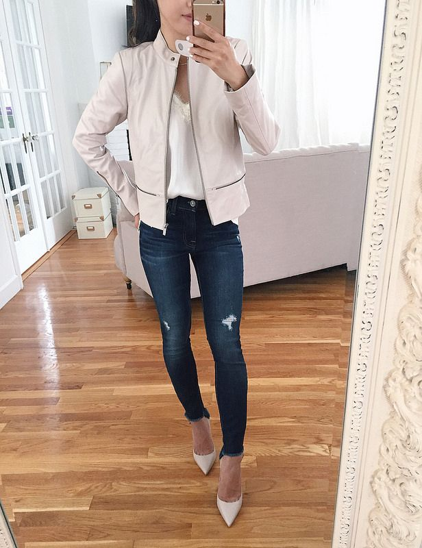 blush pink stylish leather jacket petite fall outfits
