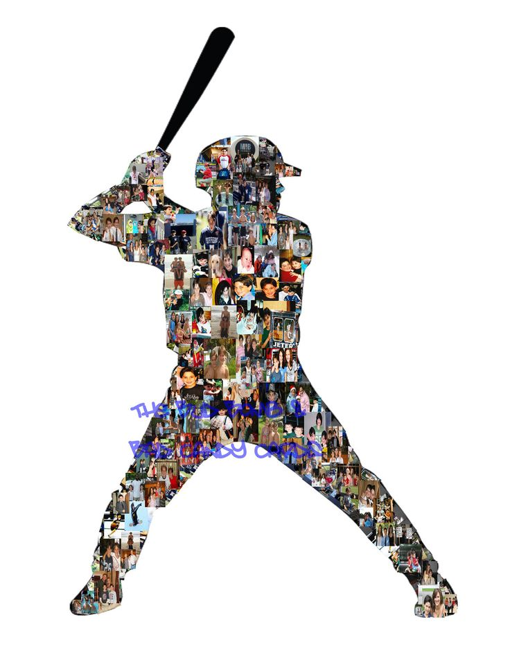 Great Sports Team or Coach Gift Personalized Baseball, Football, Hockey, Volleyball Photo Collage Silhouettes - ANY Sport or Logo. $18.00, via Etsy.