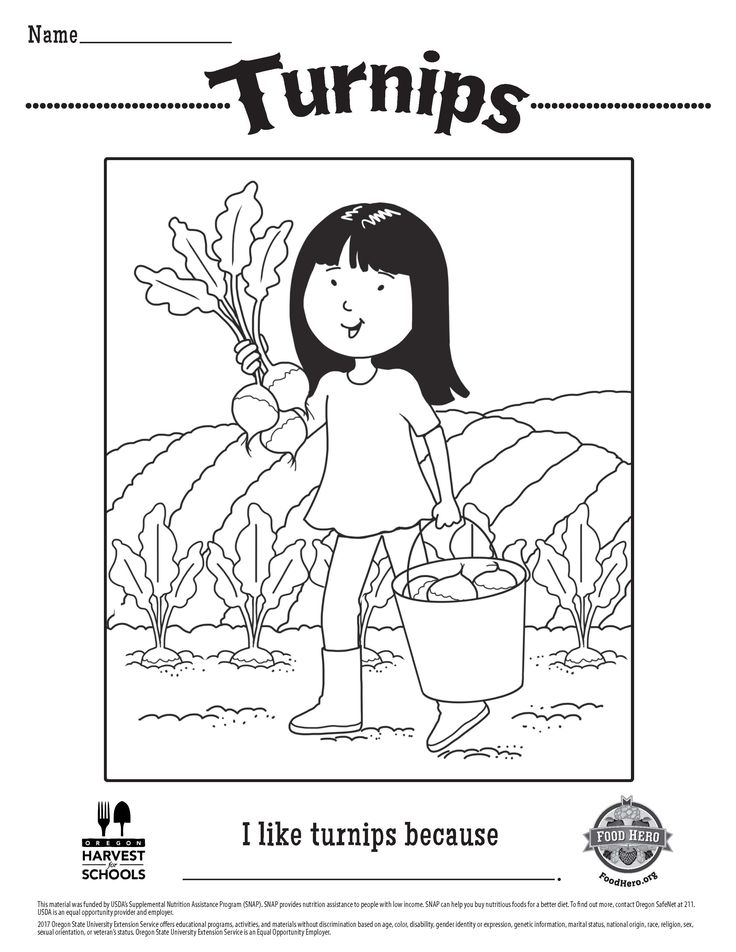 free printable turnips childrens coloring sheet in spanish food hero