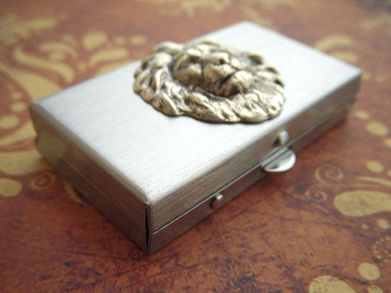 Small Pill Box Silver Lion Tiny Silver Tone Metal by CosmicFirefly