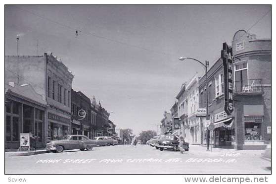 RP; Main Street from Central Avenue, Bedford, Iowa, 1950s