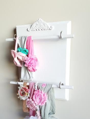 Handband Holder Headband Organizer Wooden Litte Girls Hair Storage Shabby Chic by TheHopeStack on Etsy https://www.etsy.com/listing/488609885/handband-holder-headband-organizer