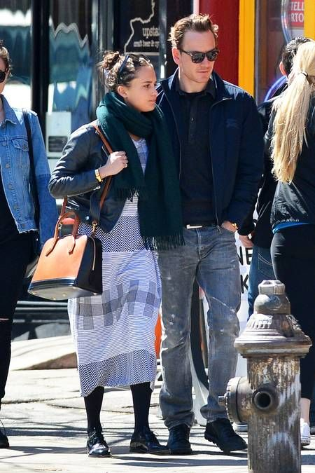 Michael Fassbender out with girlfriend Alicia Vikander in Soho, NYC. New York, New York. Picture: Pacific Coast News/BarcroftMedia