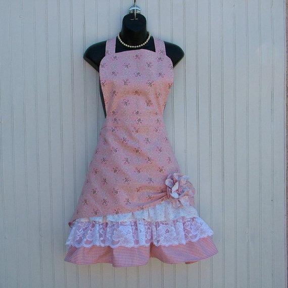 Womans Apron;Ladies Apron; Retro Apron; Pink Apron; Fabric Flower, Full-length…