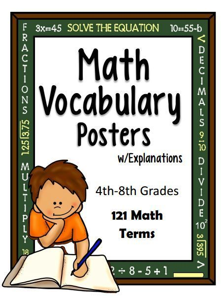 NEW DOWNLOAD AVAILABLE: Math Vocabulary (Posters) for grades 4th-8th. * 121 Math terms * Includes terms for Number & Number Sense, Measurement, Computation, Estimation, Geometry, Patterns, Functions, Probability & Statistics, Algebra http://www.christianhomeschoolhub.com/pt/Math-Terminology-References--Posters/wiki.htm