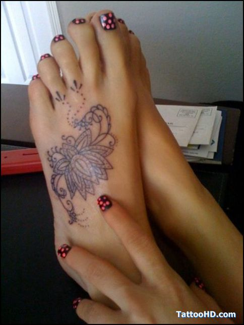 Lotus Tattoo but in color maybe with 3 tracks on toes representing each child ?