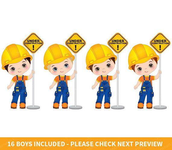 Construction Boys Clipart Vector Construction Clipart Boys Etsy Clipart Boy Clip Art Kids Clipart