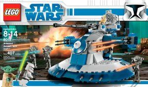 """LEGO Star Wars Armored Assault Tank (AAT) (8018) by LEGO. $146.50. Lift the compartment hatch and play inside; turret spins 360 degrees and includes a detachable speeder. New 2009 Clone Wars edition with tons of action play. Includes Yoda, Clone Trooper, 2 Battle Droids and 3 new Super Battle Droids with rocket-launcher arms. Measures 8"""" wide by 8"""" long. 407 pieces. From the Manufacturer Leading an army of Separatist super battle droids, the formidabl..."""