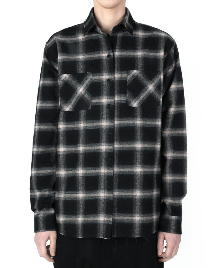 """monument_P Grey checked shirts 95,000KRW Destroyed checked shirts with graphic by Cogito. 1st collection """"Do It Yourself""""."""