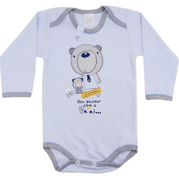 Body Barato para Bebê Menino de Manga Longa Azul - Patimini :: 764 Kids | Roupa bebê e infantil