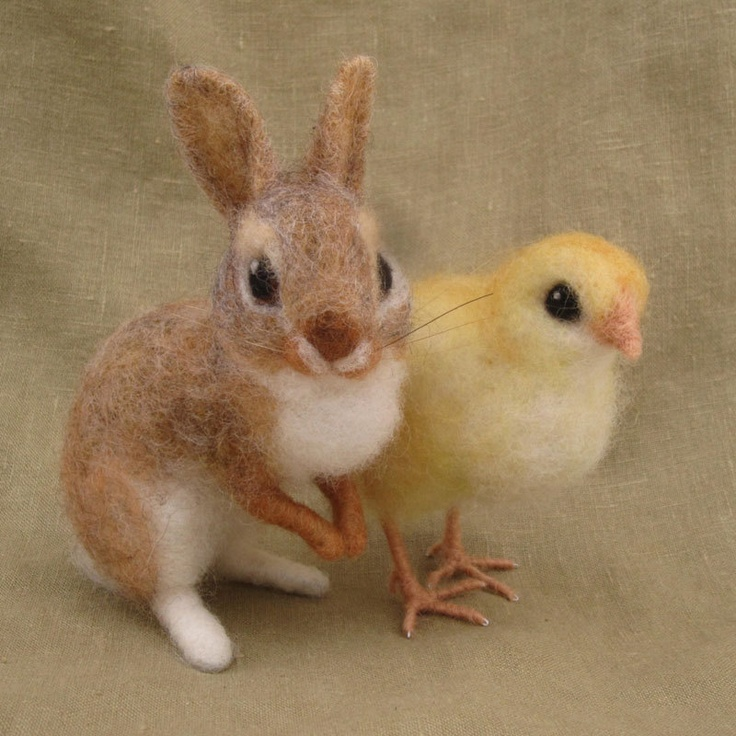 Needle felted bunny and chick Easter basket