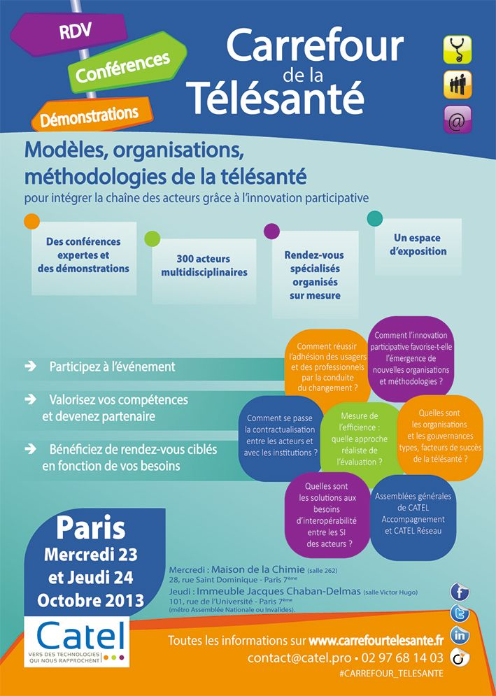 Carrefour de la #télésanté is an important professional event regarding #telemedicine. It is organized by #CATEL, a multidisciplinary network of expertise which mission is to contribute to the development of telemedicine. MIR waits for you in Paris, Wednesay 23 and Thursday 24 October.
