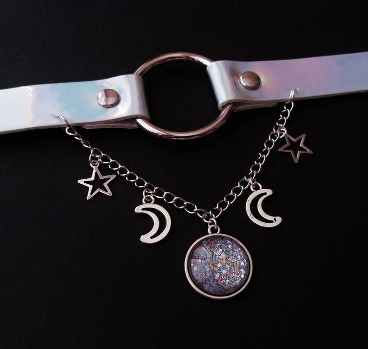 Nu goth Moon and star choker ☪ ☆ www.etsy.com/shop/OfStarsAndWine ☪ ☆ pastel goth grunge