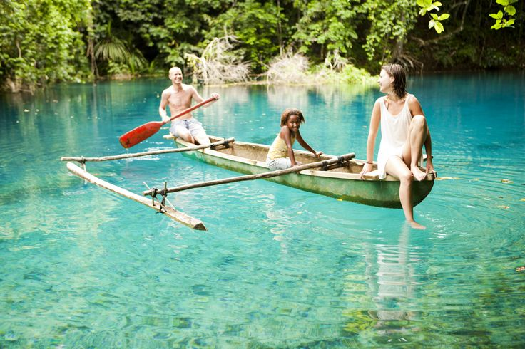 Canoeing in a Blue Hole