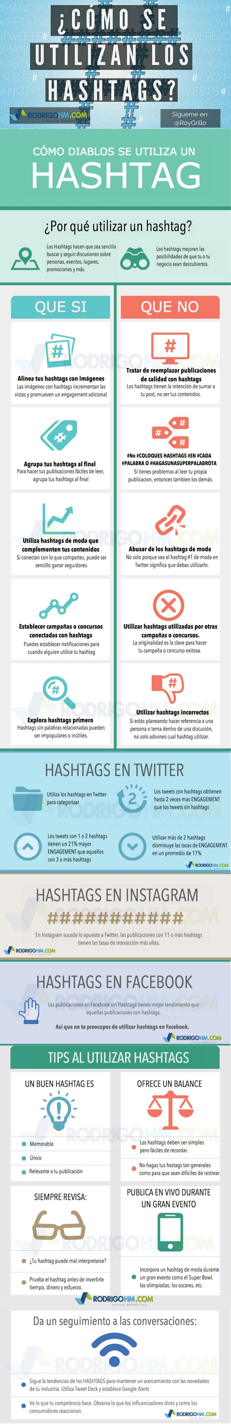 Hola: Una infografía sobre Redes Sociales: cómo usar los hashtags. Vía Un saludo