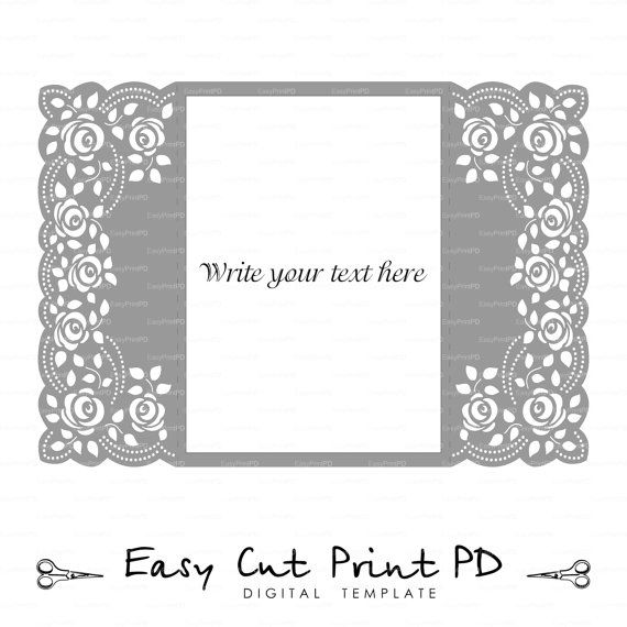 Tapete de crochet de encaje de rosas invitación por EasyCutPrintPD
