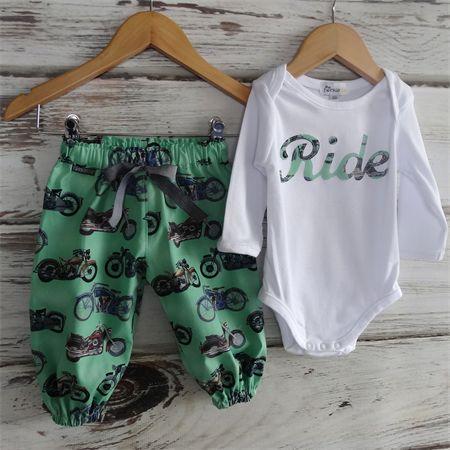 Modern Harem Play Pants and Onesie Sizes 0000-1 Vintage Green Motorbike