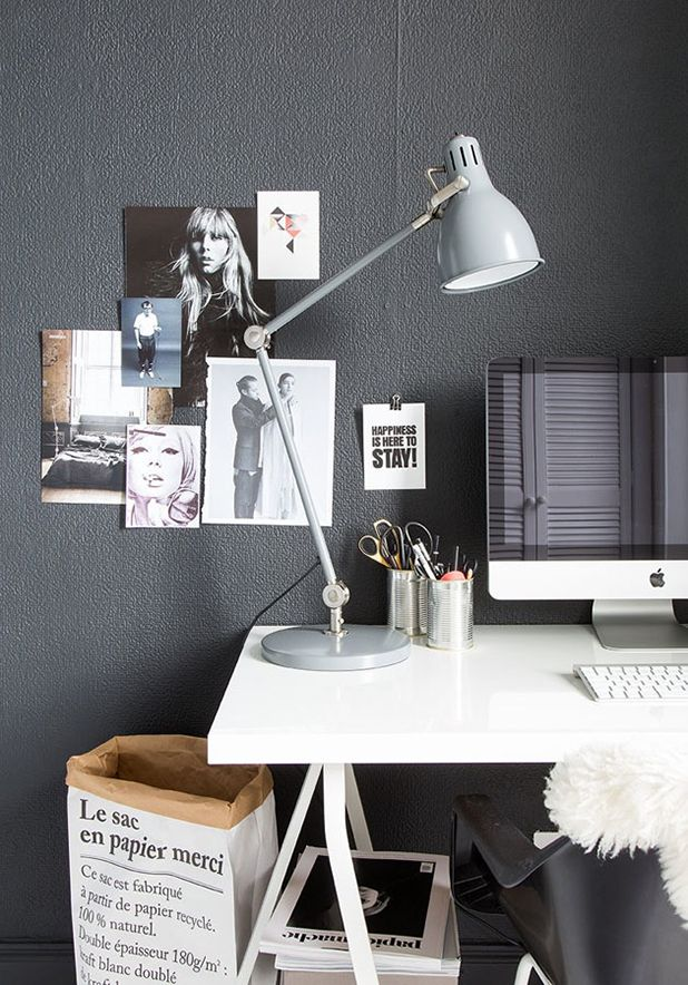 Scandinavian black and white office work space
