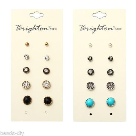 5Pairs/Set BD Fashion Women Retro Statement Round Rhinestone Turquoise Earrings