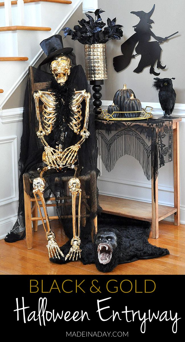 Gold and Black Beaded Pumpkins, haunted black gold Halloween entryway tour, Crystal ball, Gold Skeleton, victorian fringe, flying witch, gold black Halloween #sponsored