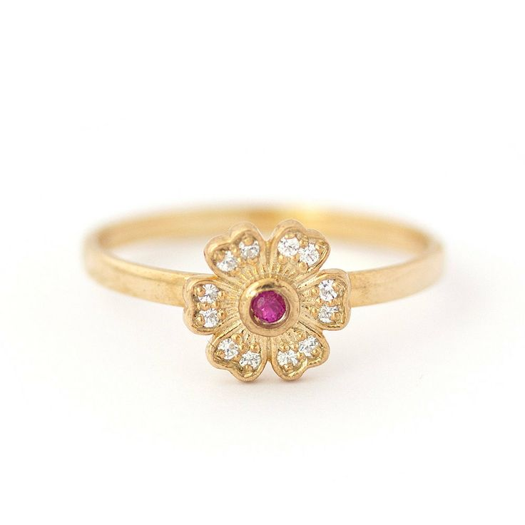 Juliet And Oliver - Flower Diamonds Ruby Engagement Ring 14k Rose Gold #rose gold engagement ring