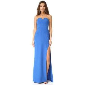 Halston Heritage High Slit Strapless Gown
