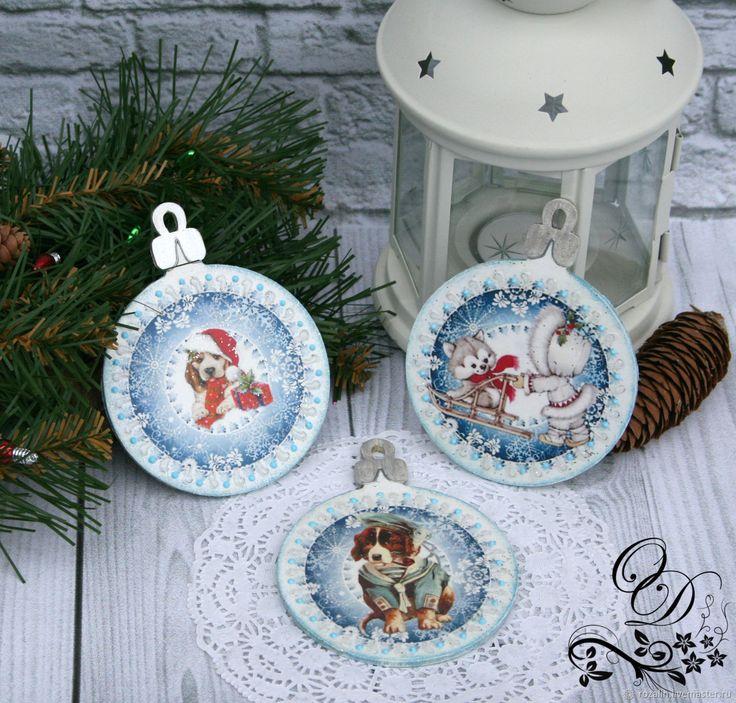Купить Новогодняя подвеска на елку, шар, декупаж в интернет магазине на Ярмарке Мастеров