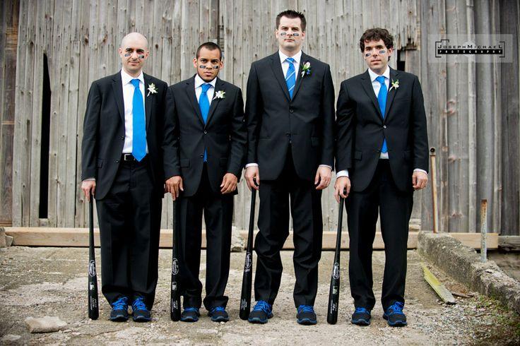 Baseball Themed Wedding, Piper's Heath Wedding, Baseball, Groomsmen, Bats, eye paint