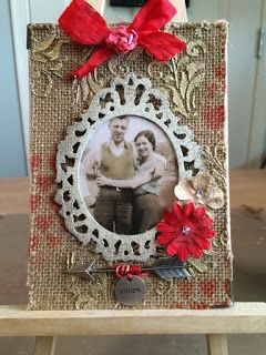 """My True Love Hi everyone Welcome to this months card challenge from the Crafty Card Gallery. Theme: love/sweets Here is my project for this months challenge. I decided to do a traditional valentine on burlap using Tim Hotz latest - """"Technique Re mix""""- from 12 tags Feb. I was so inspired after finishing my creation that I had to share a smaller version for this months card challenge. handmade mixed media burlap Supplies used: burlap canvas panel/distress spray stain/ink/texture paste/gold…"""