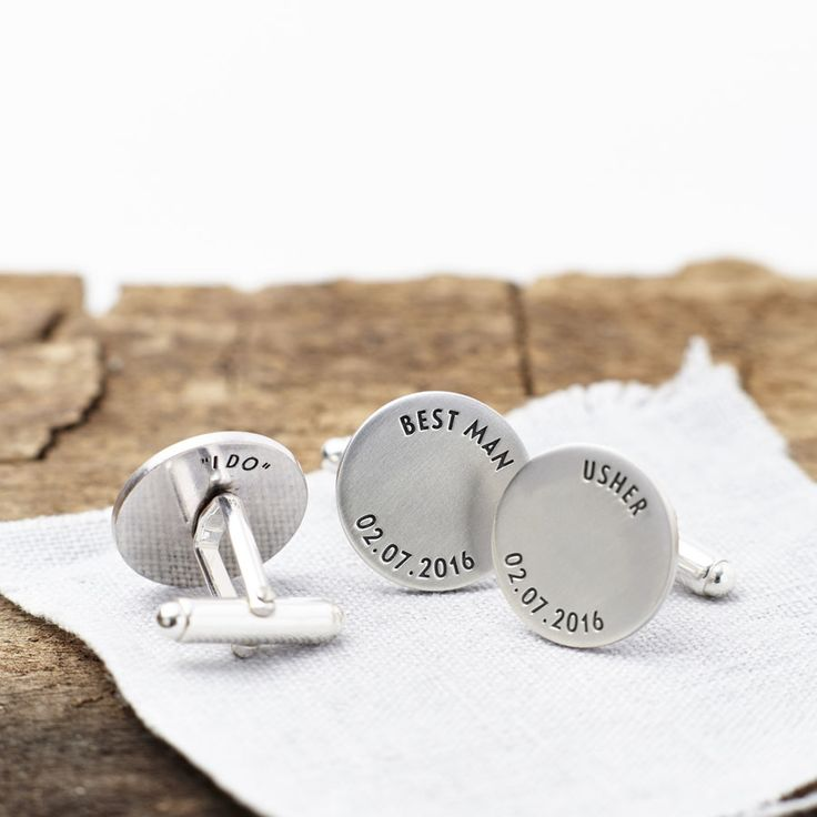 Handmade in our studio from sterling silver, these stunning personalised cufflinks are the perfect accessory for your groom, best man and ushers.