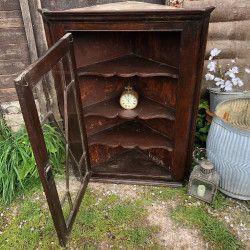 Antique Mahogany Glazed Country Farmhouse Corner Cabinet Removable Silk Curtain