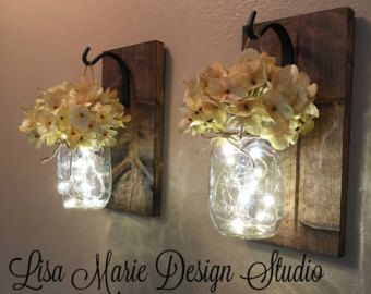 Wall sconce, set of two, hanging mason Jar Sconces, Mason Jar Decor, Home Decor, Housewarming Gift, Lighted Mason Jars, Farmhouse Decor